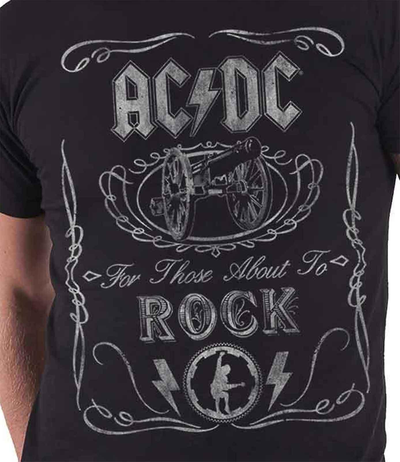 AC/DC T Shirt For Those About to Rock Canon Vintage Official Mens New Black