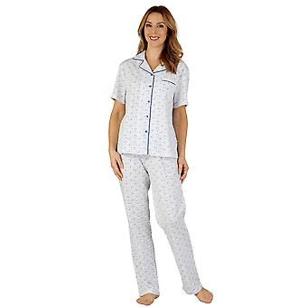 Slenderella PJ3114 Frauen Baumwoll Jersey Pyjama Pyjama-Set
