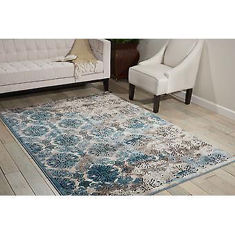Karma Nourison KRM05 marfim azul retângulo tapetes liso/quase planície tapetes
