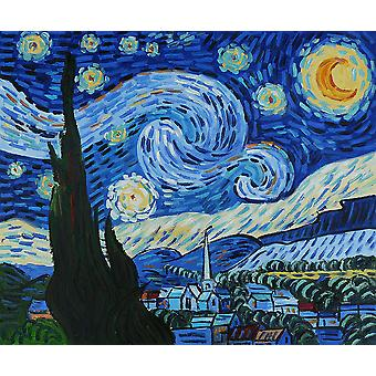 Etter Vincent van Gogh Starry Night, 50 x 60 cm olje på lerret