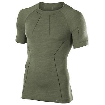 Falke ull Tech Kortärmad skjorta - olivgrön
