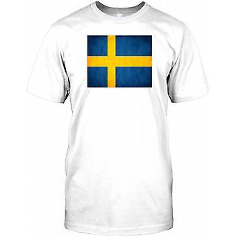Schwedische Grunge Effekt Flag - Schweden Kinder T Shirt