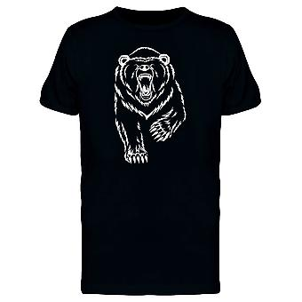 Grizzly Bear White Silhouette Tee Men's -Image by Shutterstock