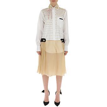 Prada Beige/white Silk Dress