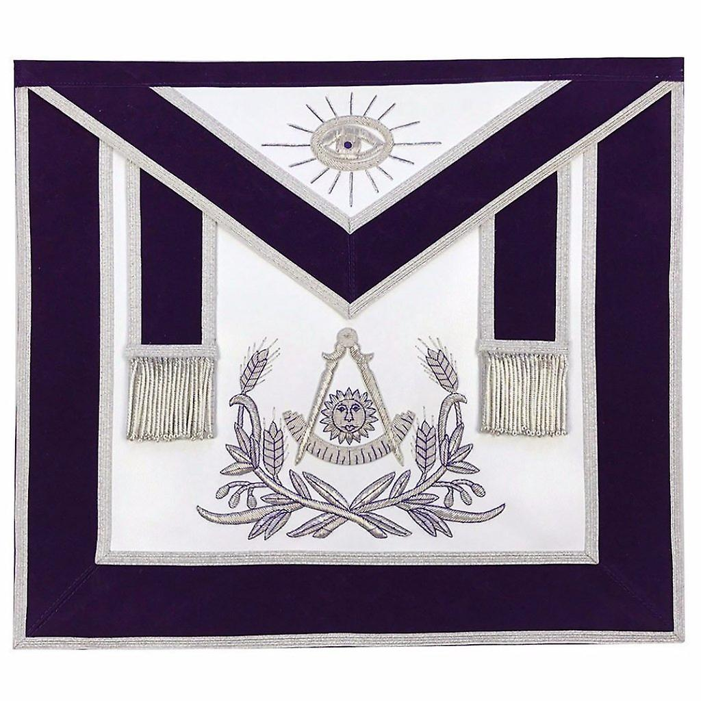 Masonic Past Master Hand Embroiderouge Apron argent Embroidery violet velours-Lambskin