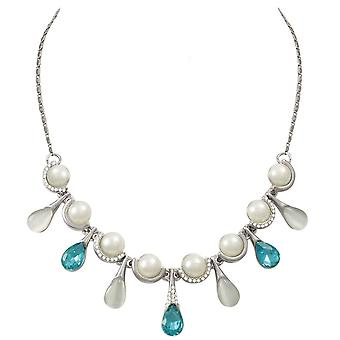 Eternal Collection Treasured Turquoise Crystal Faux Pearl And Cats Eye Statement Necklace