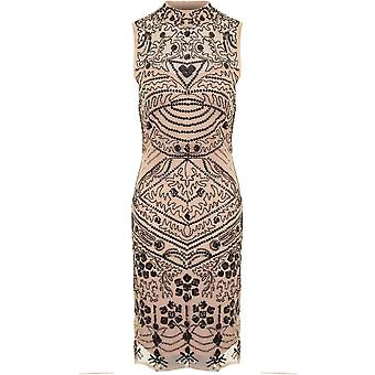 Ladies ärmellos Mesh Insert Paisley Perlen Pailletten gesäumt Bodycon Shift Kleid