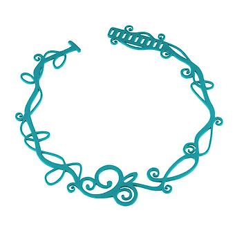 Blue silicone waves tattoo effect necklace