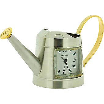 Miniature Chrome/Goldtone Watering Can Novelty Collectors Clock IMP1010