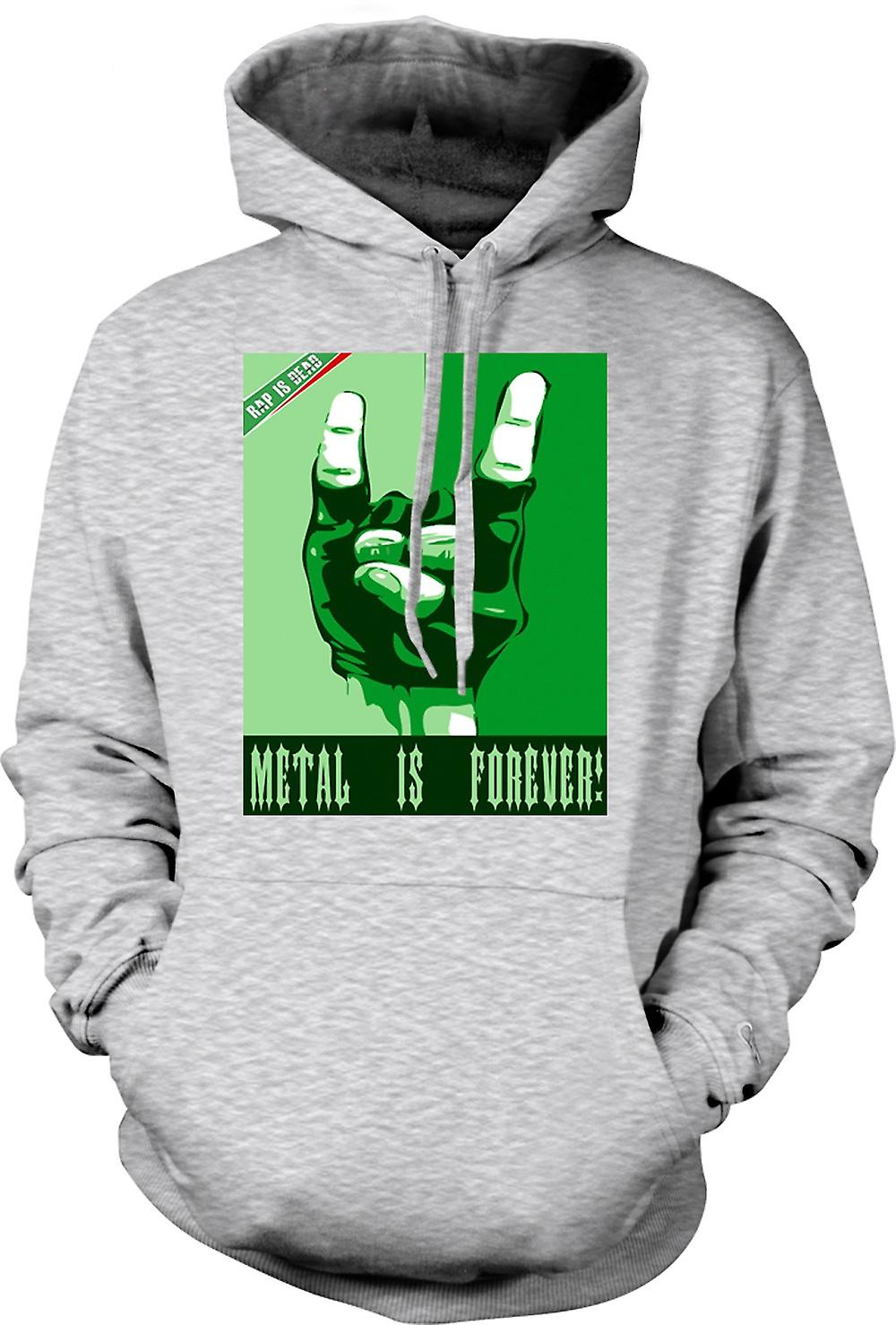 Mens Hoodie - Rap Is Dead Metal Is Forever