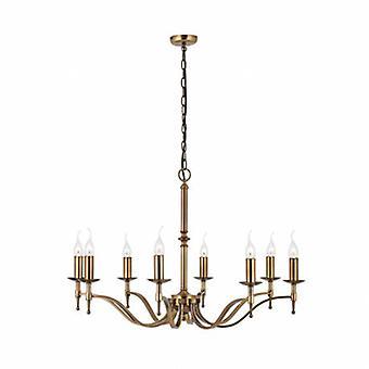 8 Light Chandelier Antique Brass Finish
