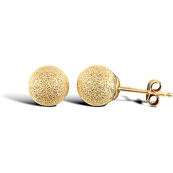 Jewelco London Ladies 9ct Yellow Gold Frosted Ball Bead Stud Earrings, 6mm