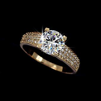 18K Gold Plated 4 Prong 2 Carat Cubic Zirconia Ring