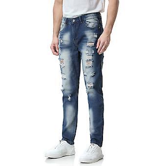 Allthemen Men's Hole Jeans Fashion Slim Fit Denim Pants