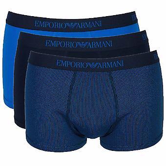 Emporio Armani Coloured Pure Cotton 3-Pack Trunk, Wave Blue / Print / Marine, Small