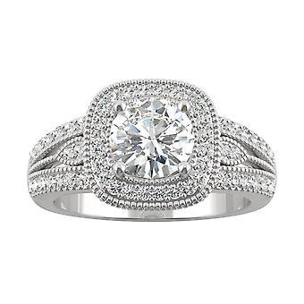 14K White Gold Moissanite by Charles & Colvard 6.5mm Round Engagement Ring, 1.31cttw DEW