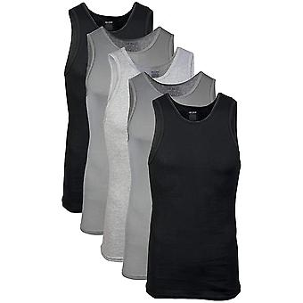 Gildan Men's  A-Shirts 5 Pack, Grey/Black, Medium, Grey/Black, Size Medium