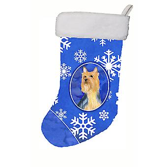 Silky Terrier Winter Snowflakes Snowflakes Holiday Christmas  Stocking LH9271