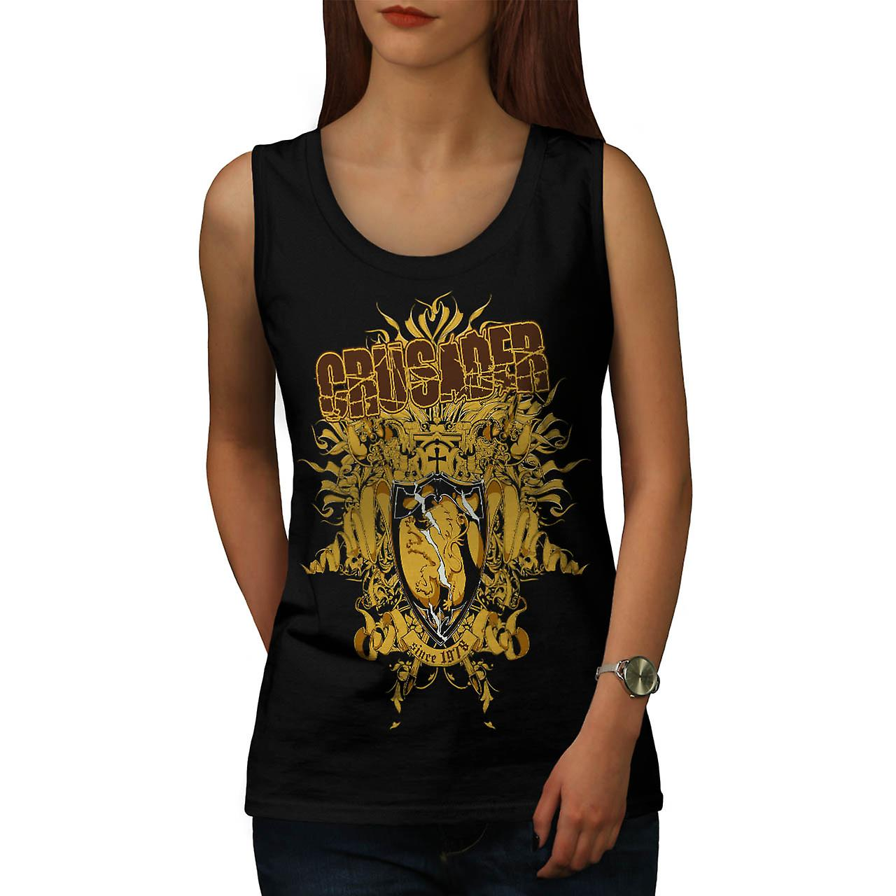 Crusader Knight Hero Warriors Women Black Tank Top | Wellcoda