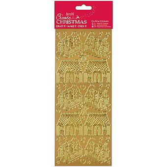 Papermania Create Christmas Outline Stickers-Gold Gingerbread Houses PM810925