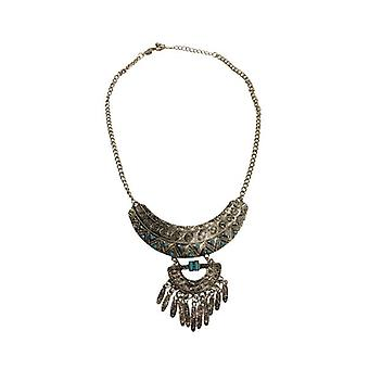 Silver boho statement necklace with beautiful details