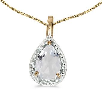 10k Yellow Gold Pear White Topaz Pendant with 18