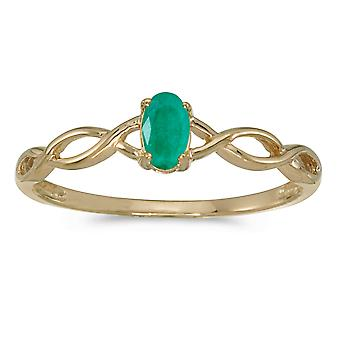 10k Yellow Gold Oval Emerald Ring