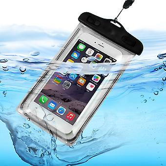 ONX3 (Black) Samsung Galaxy Xcover 4 Universal Transparent Mobile Cell Smart Phone, Passport, Money Underwater Waterproof Protection Bag Touch Responsive
