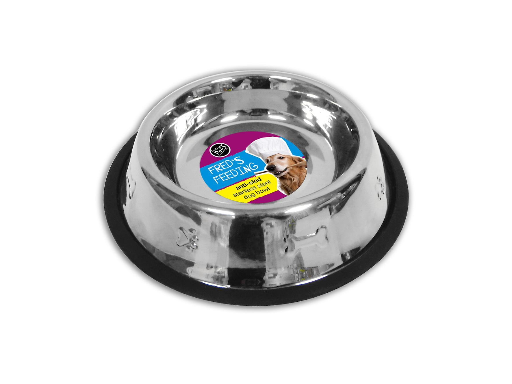 Stainless Steel Dog Bowl Food Water 12oz Anti-Skid by World Of Pets