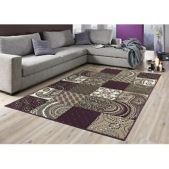 Design velour carpet patchwork look purple 101727