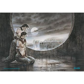 Luis Royo to piger Moonlight store stof plakat / flag 1100 mm x 750 mm (hr)