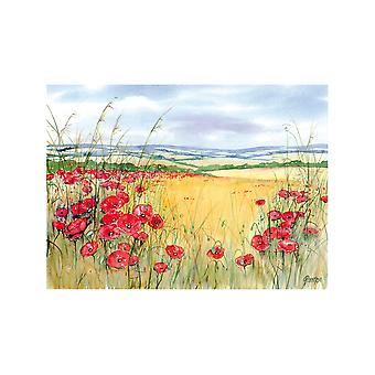 Tuftop 30cm x 22cm Small Worktop Saver, Poppies, Textured Finish