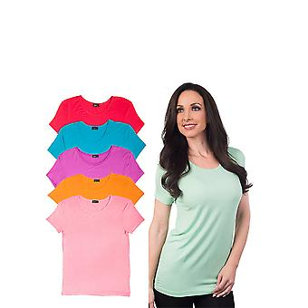 Agiato kvinders grundlæggende Rayon besætning hals T-Shirt 6-Pack