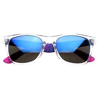 Splatter Plasma Neon Dual Color Raver Mirror Revo Lens Horn Rimmed Sunglasses