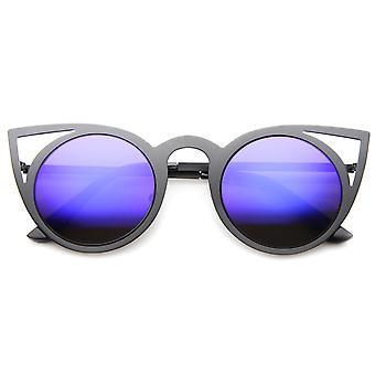 Dame mode runde Metal Cut-Out Flash spejl linse Cat Eye solbriller