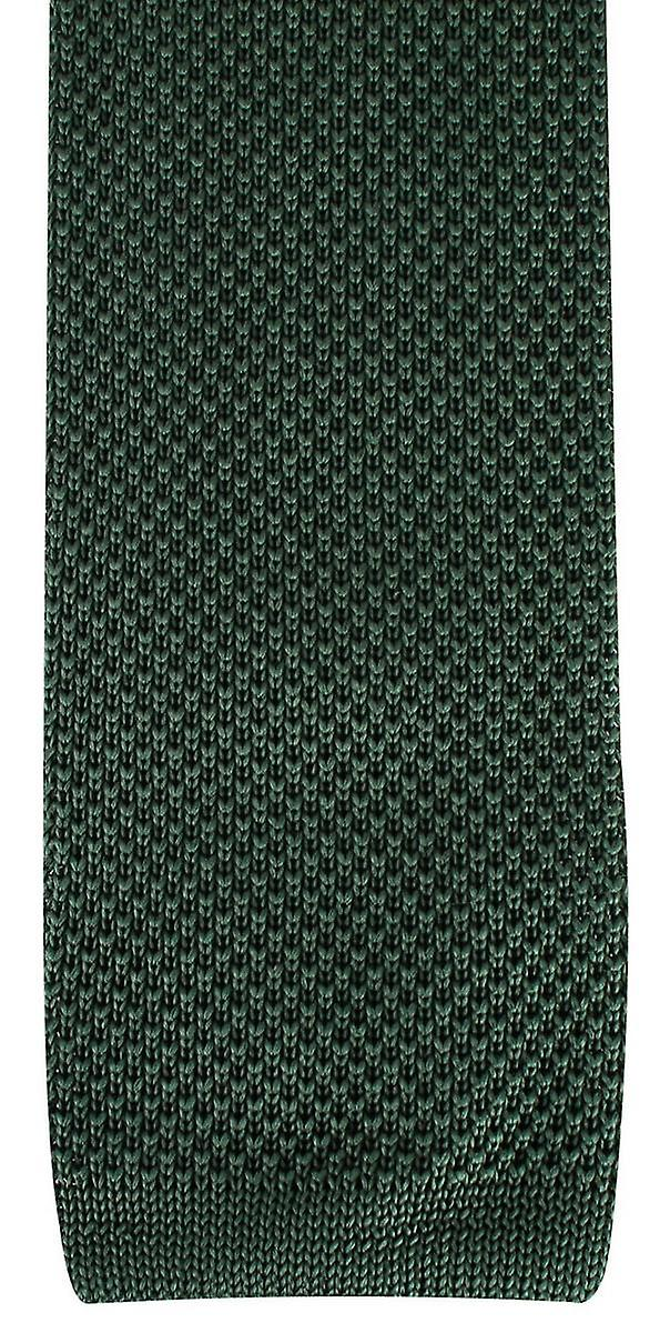 David Van Hagen Plain Knitted Tie - Olive