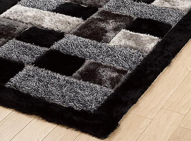 Shaggy - Noble House JR-04 Black  The black and grey colours appear in blocks of textures and shades Rectangle Rugs Plain/Nearly Plain Rugs