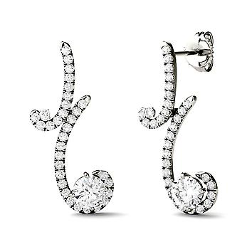 Forever Brilliant 5.0mm Round Moissanite Bypass Drop Earrings, 1.67cttw DEW