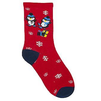 RJM Ladies Christmas Socks Red Penguin Size UK 4-7
