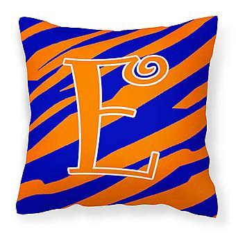 Monogram Initial E Tiger Stripe Blue and Orange Decorative Canvas Fabric Pillow