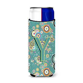 Letter Y Circle Circle Teal Initial Alphabet Ultra Beverage Insulators for slim