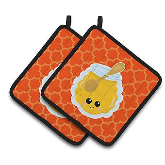 Carolines Treasures  BB7054PTHD Honey Jar Face Pair of Pot Holders