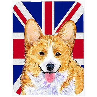 Corgi con cojín de ratón de bandera británica Union Jack inglesa, almohadilla caliente o latas de refrescos