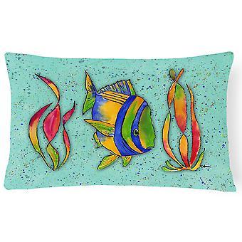 Carolines Treasures  8569PW1216 Tropical Fish on Teal   Canvas Fabric Decorative