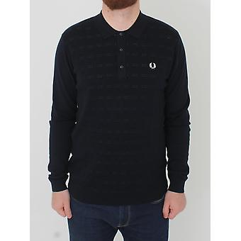 Fred Perry Jaquard Knitted Polo - Navy