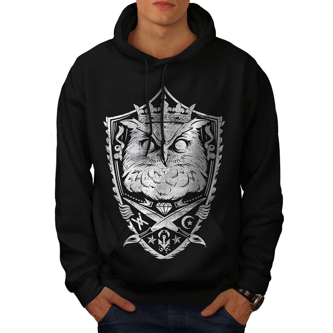 Owl King Knight Animal Men Black Hoodie | Wellcoda