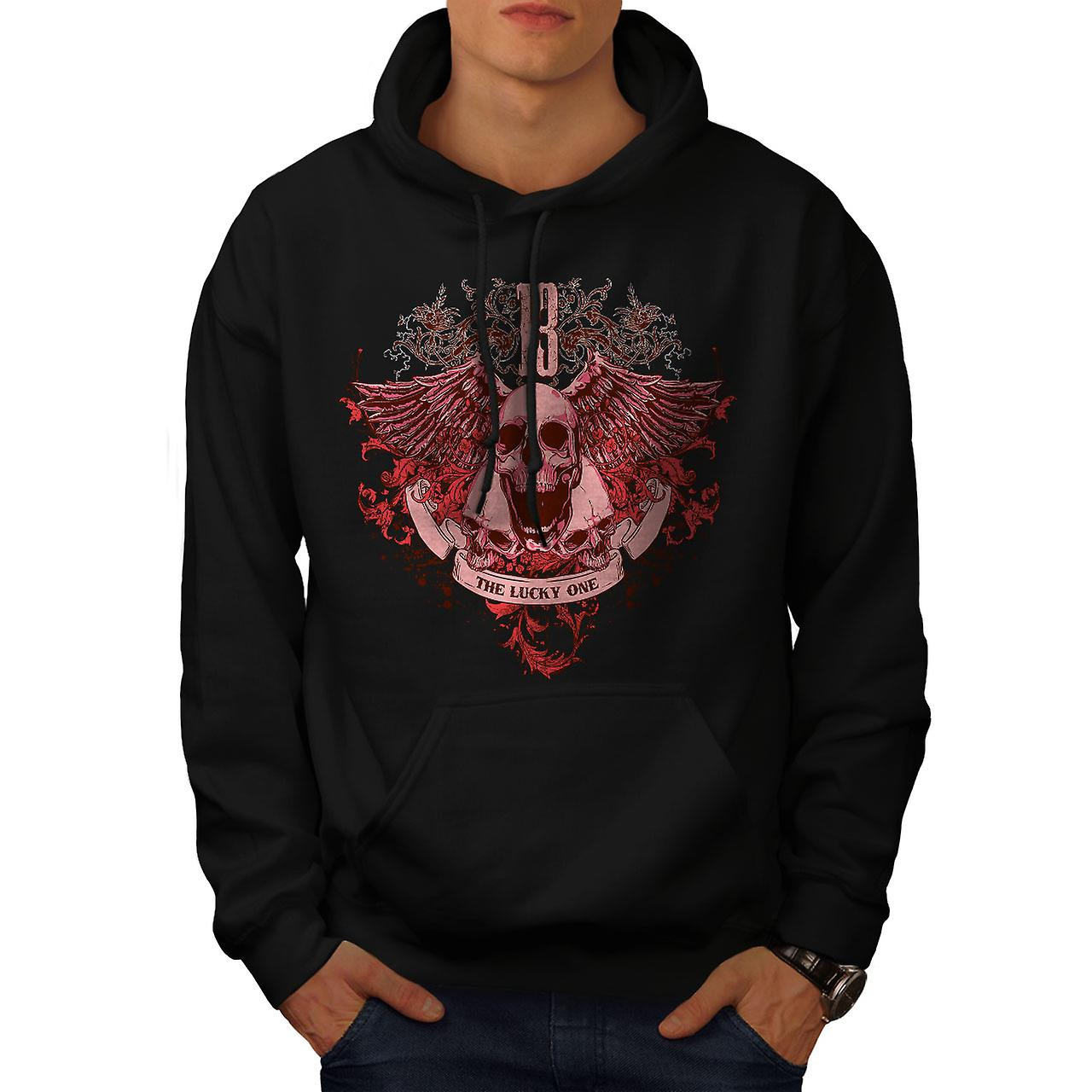 13 The Lucky One Skull Men Black Hoodie | Wellcoda