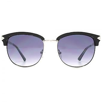 Guess Browline Style Sunglasses In Shiny Black