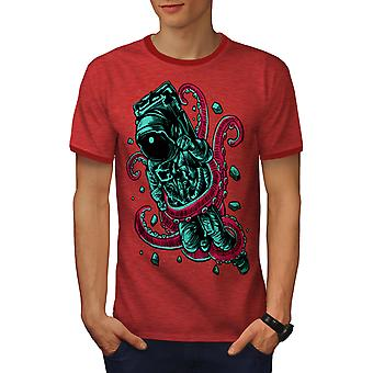 Space Octupus Fashion Men Heather Red / RedRinger T-shirt | Wellcoda