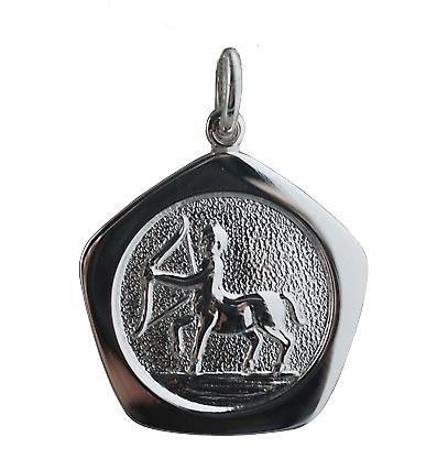 Silver 21mm five sided Sagittarius Zodiac Pendant